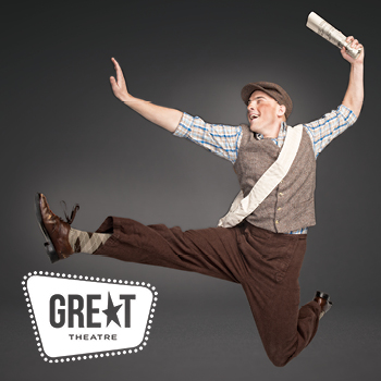 advertisement photo of newsboy jumping
